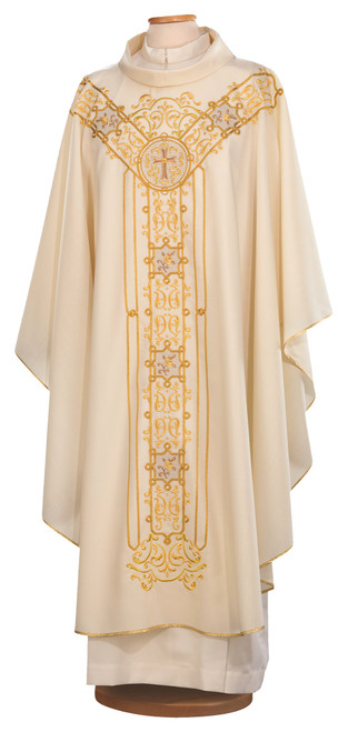 #9718 Gold Embroidered Chasuble | Roll Collar | 100% Wool | All Colors