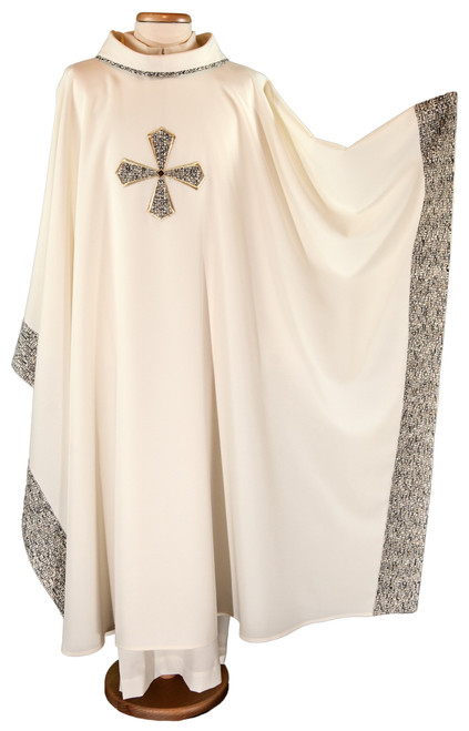#6212 Fabric Embroidered Cross Chasuble | Roll Collar | 100% Polyester | All Colors