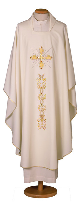#952 Cross Embroidered Chasuble | Square Collar | 100% Polyester | All Colors