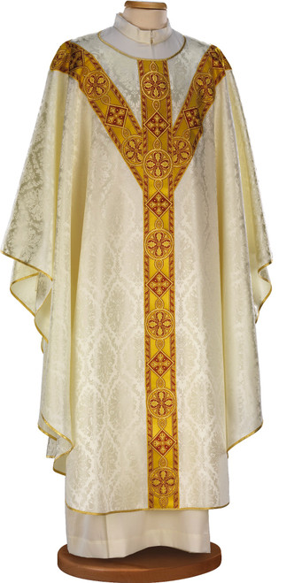 #0007 Italian Woven Galoon Gold Chasuble | Plain Collar | 100% Poly Damask