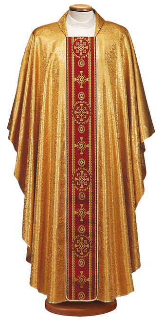 #0003 Embroidered Gold Chasuble | Square Collar | Acetate/Poly/Lurex