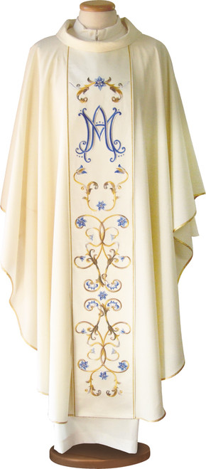 #7108 Embroidered Marian Chasuble | Roll Collar | 100% Wool