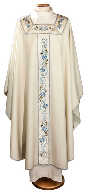 #6489 Embroidered Band Marian Chasuble | Plain Collar | 100% Wool