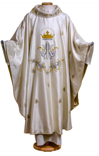 Handmade Italian Marian Crown Chasuble | Roll Collar | 100% Silk