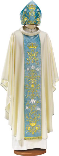 Handmade Italian Marian Crown Chasuble with Blue Scapular | Roll Collar | 100% Wool