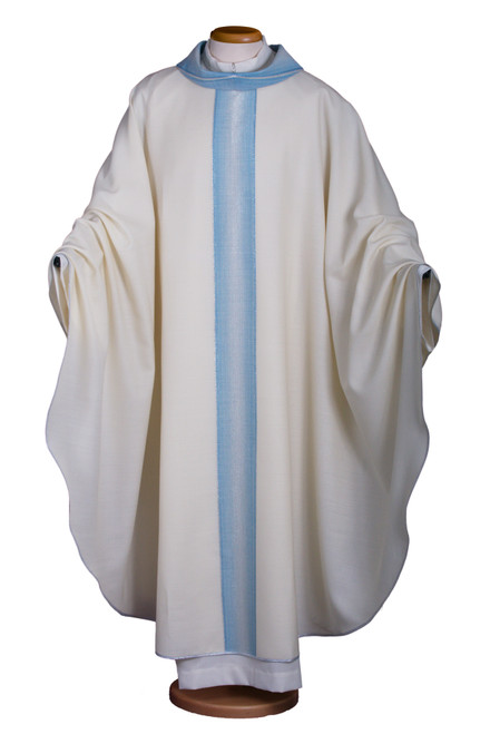 #2015 Italian Blue Banded Marian Chasuble | Roll Collar | Wool/Lurex