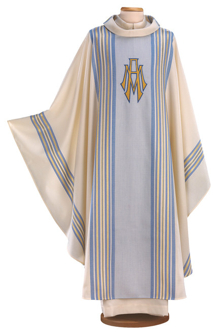 #9016 Italian Blue & Gold Embroidered Marian Symbol Chasuble | Roll Collar | Wool/Poly
