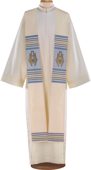 #9016 Italian Blue & Gold Embroidered Marian Symbol Overlay Stole | Wool/Poly