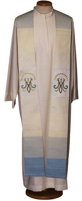 #2005 Italian Embroidered Marian Symbol Overlay Stole | Wool/Lurex