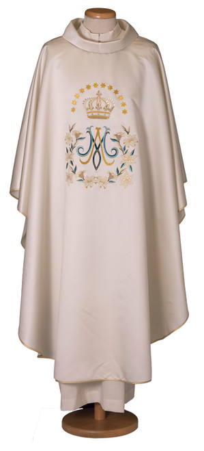 #7785 Embroidered Marian Floral Chasuble | Roll Collar | 100% Satin Poly