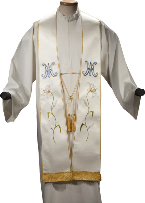 #5236 Italian Embroidered Flower Marian Overlay Stole   100% Satin