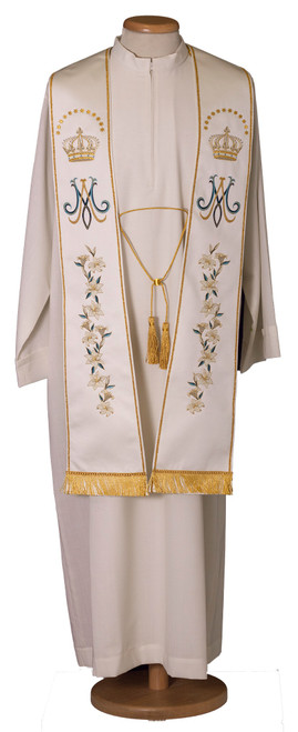 #7785 Embroidered Marian Floral Overlay Stole | 100% Satin Poly