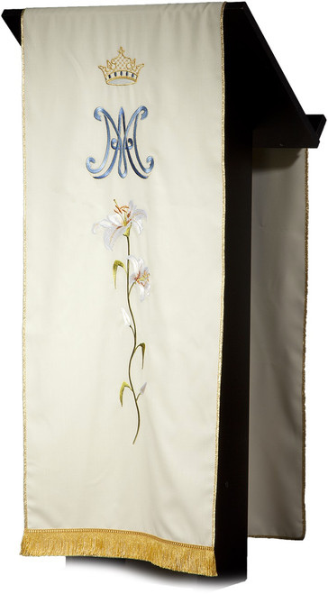 #5236 Italian Embroidered Flower Marian Lectern Cover | 100% Wool