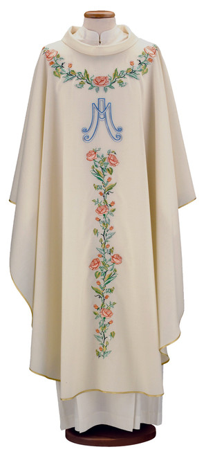 #9413 Embroidered Floral Print Marian Chasuble | Roll Collar | Wool/Silk