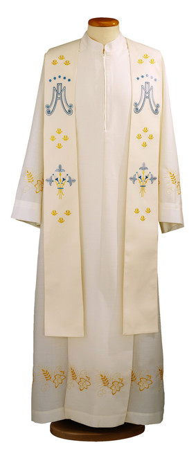#0348 Embroidered Marian Overlay Stole | 100% Polyester