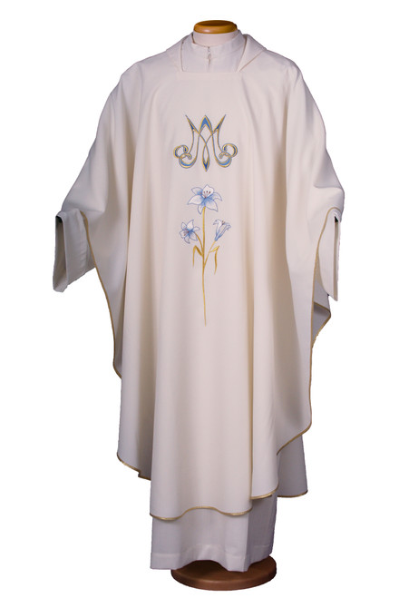 #923 Embroidered Marian Flower Chasuble | Square Collar | 100% Polyester