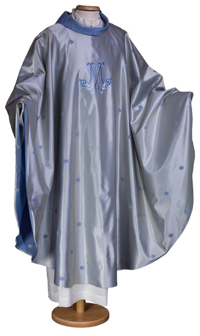 #5744 Blue Embroidered Marian Chasuble | Roll Collar | Wool/Silk