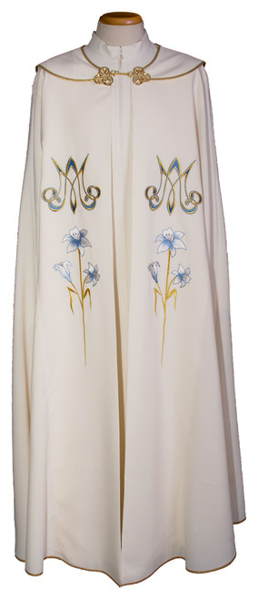 #923 Embroidered Marian Flower Cope | 100% Polyester