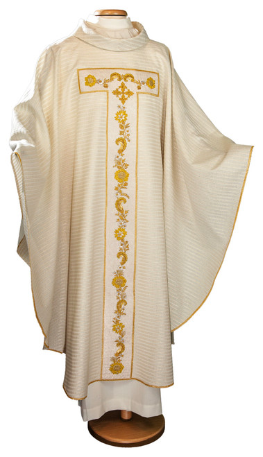 #001 Handmade Gold Embroidered Chasuble | Roll Collar | Wool/Lurex | All Colors