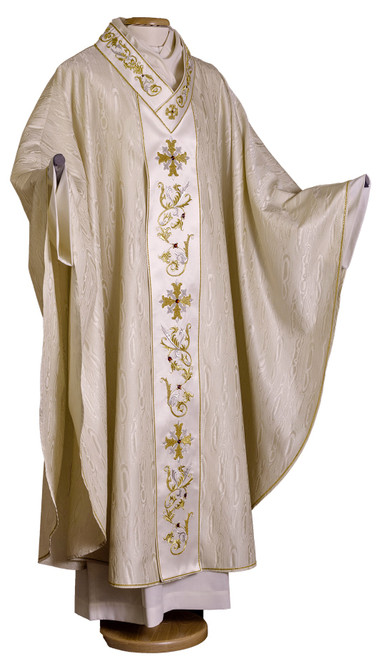 #006 Handmade Gold Embroidered Chasuble with Crystal Inlay | Plain V Collar | Silk/Wool | All Colors