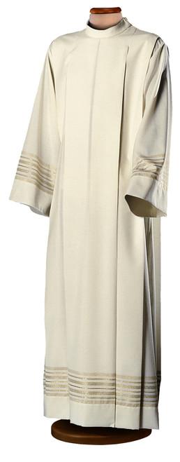 #0028 Gold-Banded Alb | Shoulder Zipper | Wool/Poly