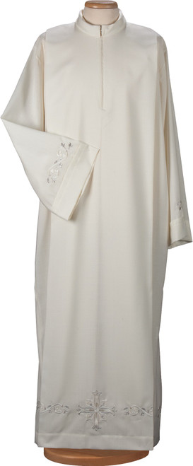 #4479 Embroidered Alb | Front Zipper | Wool/Poly