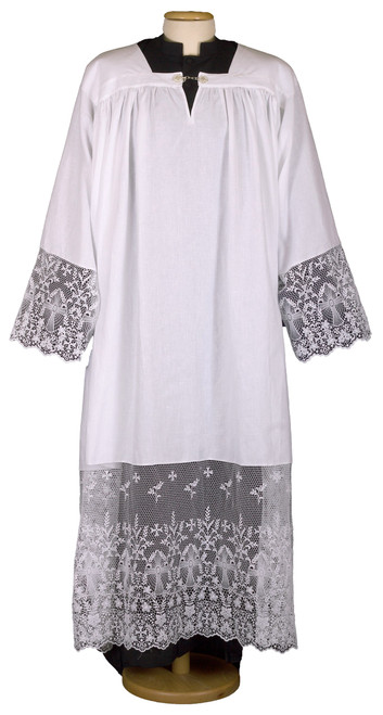 #0068 Thick Ornate Cross Lace Alb | Pullover | 100% Linen