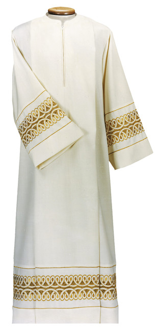 #0010 Gold Lace & Gold Trim Alb | Front Zipper | Wool/Poly