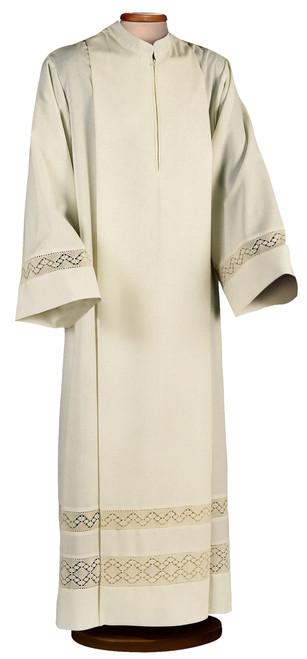 #0214 Double Lace Formal Alb | Front Zipper | Poly/Cotton