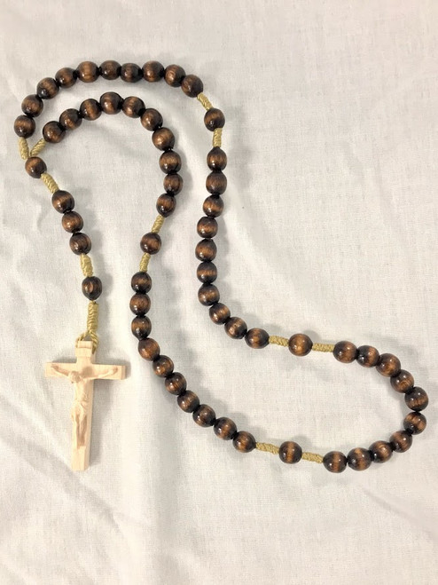 Dark Brown Wood Bead Rosary | Hand Carved In Italy