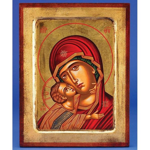 "11.5"" Virgin Mary Glikofilousa (Sweet Kissing Madonna) Icon 
