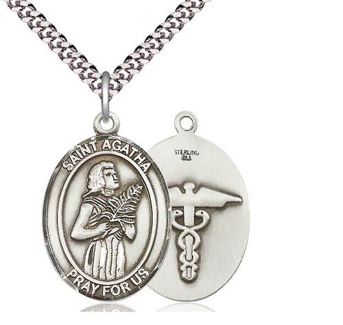 St. Agatha Nurse Sterling Silver Pendant