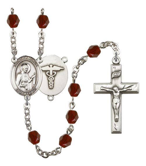 St. Camillus of Lellis Nurse Polished Crystal Rosary   Small Crucifix   12 Colors
