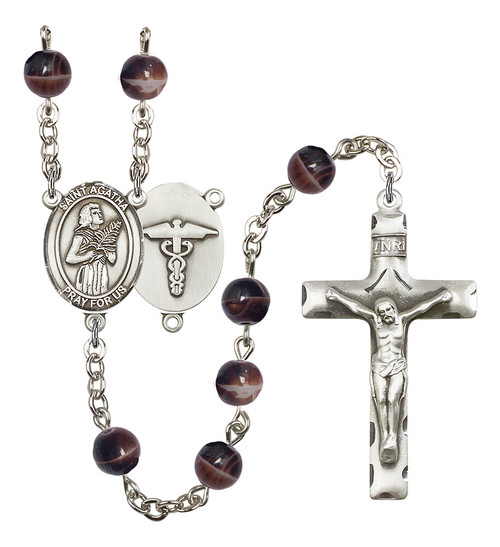 St. Agatha Nurse Rosary | Hand Made Silver Plate | 7mm Brown Beads