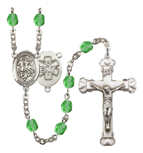 St. George EMT Polished Crystal Rosary | Medium Crucifix | 12 Colors