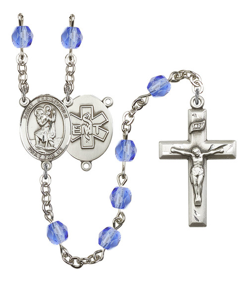 St. Christopher EMT Polished Crystal Rosary   Small Crucifix   12 Colors