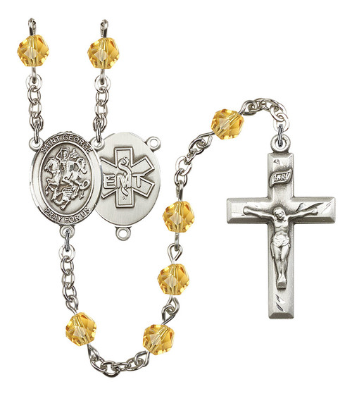 St. George EMT Polished Crystal Rosary | Small Crucifix | 12 Colors