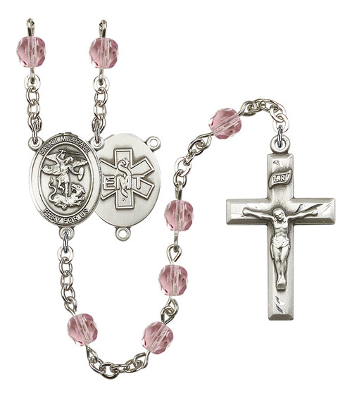 St. Michael EMT Polished Crystal Rosary | Small Crucifix | 12 Colors