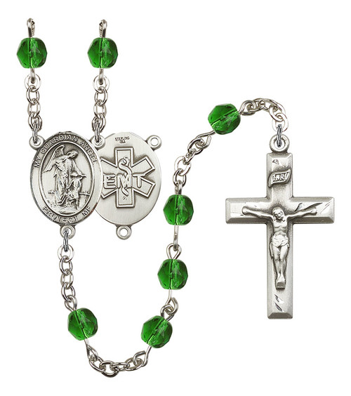 Guardian Angel EMT Polished Crystal Rosary | Small Crucifix | 12 Colors
