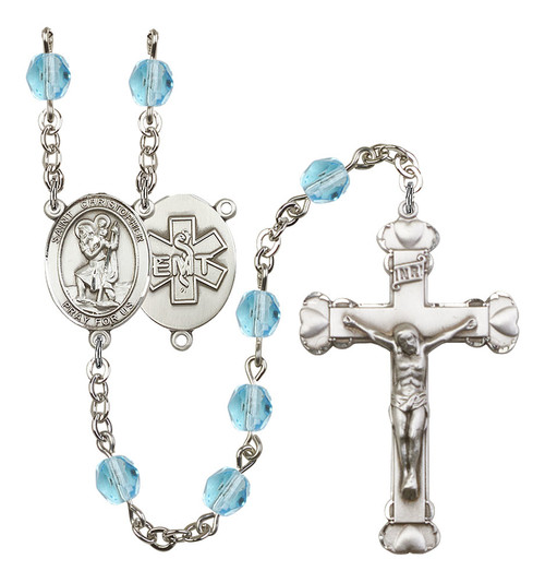 St. Christopher EMT Polished Crystal Rosary | Medium Crucifix | 12 Colors