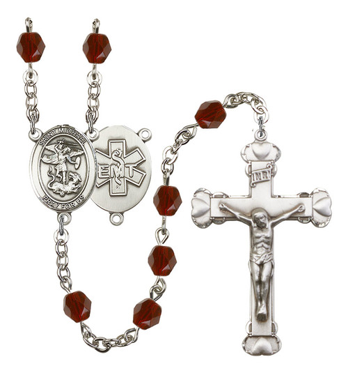 St. Michael EMT Polished Crystal Rosary | Medium Crucifix | 12 Colors