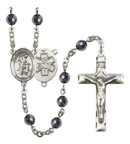 Guardian Angel EMT Rosary | Hand Made Silver Plate | 6mm Hematite Beads
