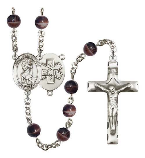 St. Christopher EMT Rosary   Hand Made Silver Plate   7mm Brown Beads