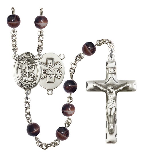 St. Michael EMT Rosary   Hand Made Silver Plate   7mm Brown Beads