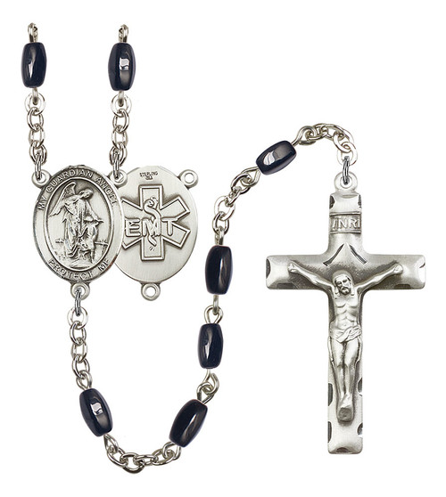 Guardian Angel EMT Rosary | Hand Made Silver Plate | 5mm Black Onyx Beads