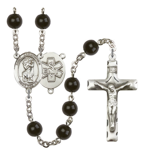 St. Christopher EMT Rosary | Hand Made Silver Plate | 7mm Black Onyx Beads