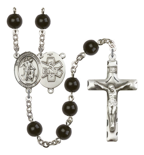 Guardian Angel EMT Rosary | Hand Made Silver Plate | 7mm Black Onyx Beads