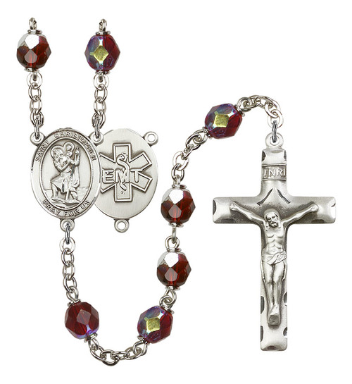 St. Christopher EMT Rosary | Hand Made Silver Plate | 7mm Lock Link Aurora Borealis Garnet Beads
