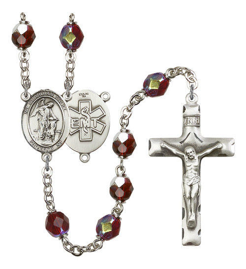 Guardian Angel EMT Rosary | Hand Made Silver Plate | 7mm Lock Link Aurora Borealis Garnet Beads