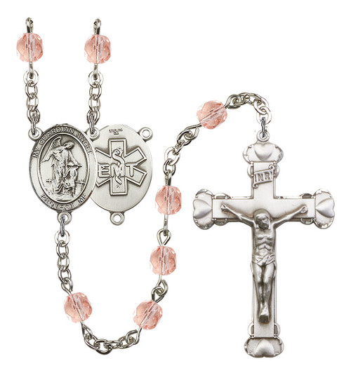 Guardian Angel EMT Polished Crystal Rosary | Medium Crucifix | 12 Colors